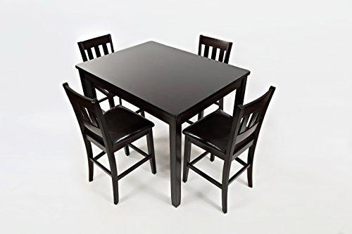 Jofran 923, Dark Rustic Prairie Counter Height Table & Four Stools, 1, Dark Brown, 36 x 48 x 36