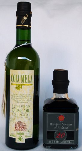 La Piana 20 Years Aged Balsamic Vinegar and Columela Extra Virgin Olive Oil paired set (8.4 Fl Oz Balsamico de Modena and 17 oz bottle of Extra Virgin Spanish Olive Oil) - Paired Set