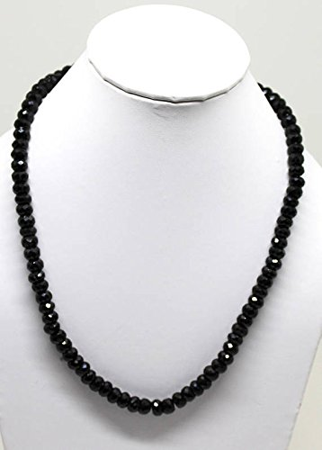 315 Carat Black Spinel Beaded Necklace Faceted Rondelle 7 to 8 mm 18.5