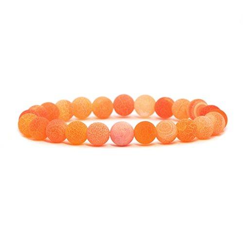 - Orange Weathered Agate Gemstone 8mm Round Beads Stretch Bracelet 7