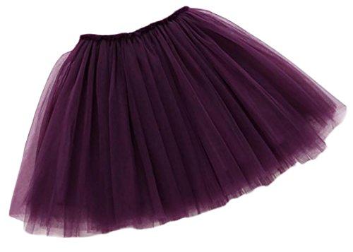 Papijam Girls Cute Mesh Elastic Waist Wedding Princess Pleated Skirts Amaranth 9T