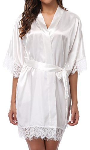 Lace Trim Satin Tie (Giova Women's Lace Trim Kimono Robe Nightwear Nightgown Sleepwear Satin Short Robe Cream White Large)