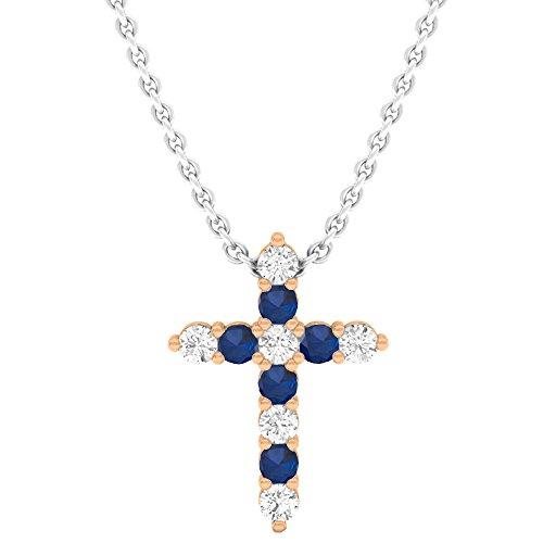 - Dazzlingrock Collection 18K Round Blue Sapphire & White Diamond Ladies Cross Pendant, Rose Gold