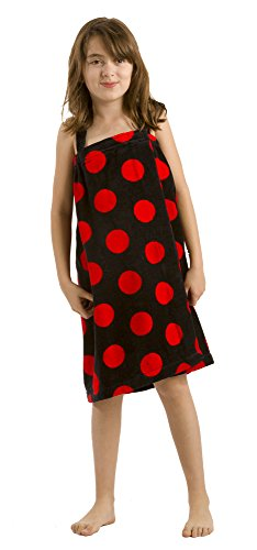 Adult Bath Wrap (byLora Terry Cotton teenagars Coverup, Black Red, Small)