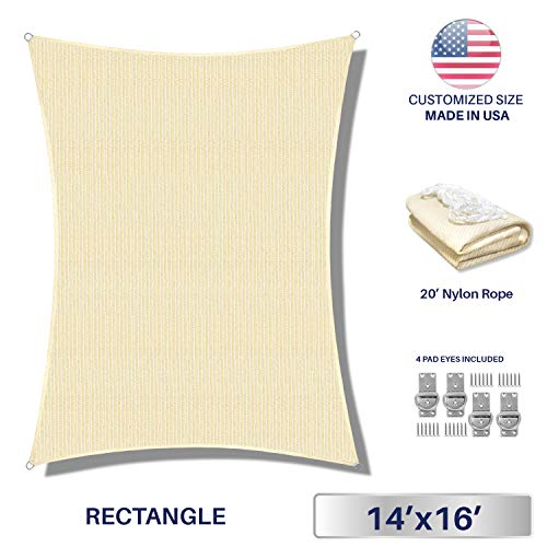 Windscreen4less 14 x 16 Sun Shade Sail Rectangle Canopy in Beige with Commercial Grade 3 Year Warranty Customized Size Included Free 4 Pad Eyes