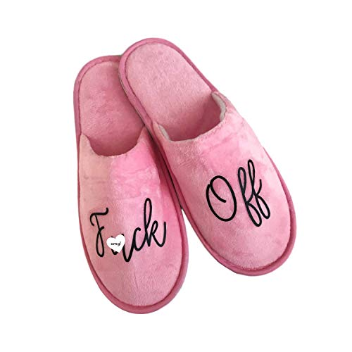 Pink Velour Fuck Off House Slippers (ONE SIZE)