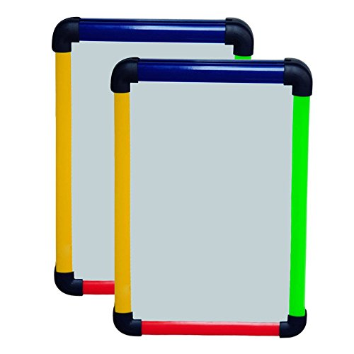 VIZ-PRO Children Drawing Board/Kids Whiting Whiteboard, Colourful Plastic Frame-A4, Pack of 2