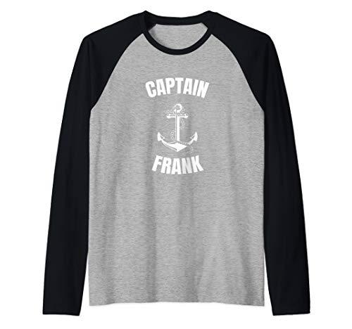 Captain Frank Anchor First Name Ship Boat Captain Raglan Baseball Tee