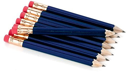 Half Pencils with Eraser - Golf, Classroom, Pew, Short, Mini - Hexagon, Sharpened, Non Toxic, 2 Pencil, Color - Navy Blue, (Box of 36) Golf Pocket Pencils