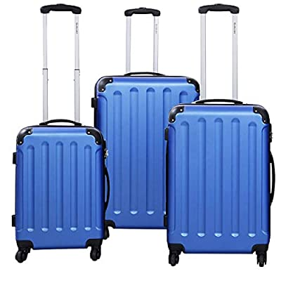MD Group GLOBALWAY 3 pcs Luggage Trolley Case Set, Blue