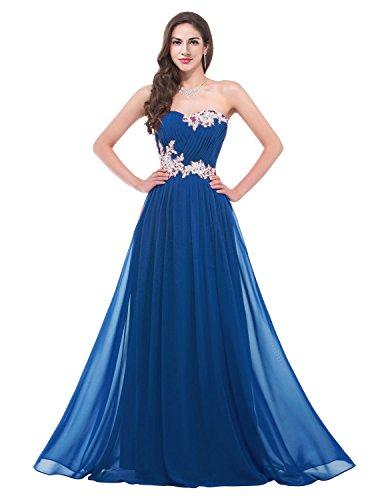 CaliaDress Women Applique C001LF Prom Gowns Bridesmaid Blue Long Evening Dresses var6axd