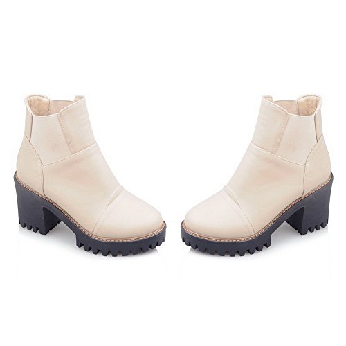 BalaMasa Womens Platform Elastic Band Chunky Heels Imitated Leather Boots Beige SD76zL5ae