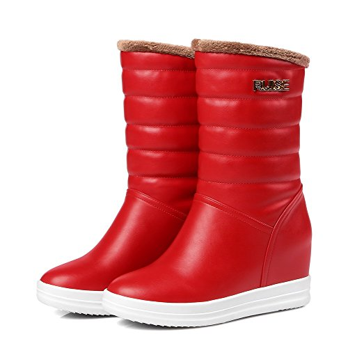 Boots Toe Round Soft Women's Kitten Heels Red Pull Material on Closed Solid AgooLar wgPx6H