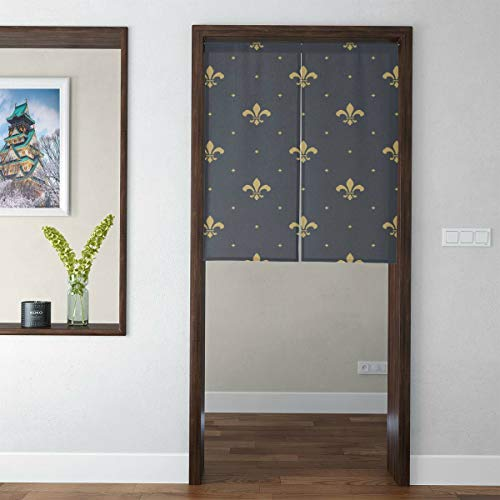 Japanese Style Tapestry Noren Door Hallway Kitchen Bedroom Curtain Lily Flower Symbol Board Floral Design Royal Weapon French Logo Culture Print 3d Print Short Type For Feng Shui Geomancy Curtains