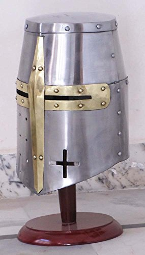 Shiv Shakti Enterprises Medieval Templar Crusader Knight Armor Helmet With Wooden Stand Greek Spartan Roman - Knights Templar Helmet