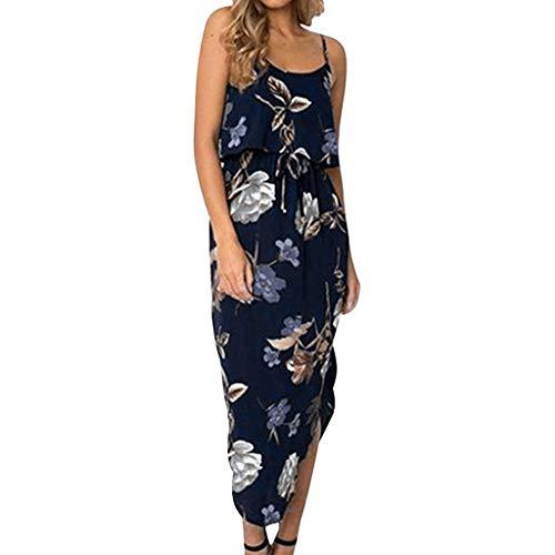 Answerl Womens Beau Sleeveless Floral Dress Spaghetti Strap Irregular Hem Slipt Side Midi Dresses Sundress Navy