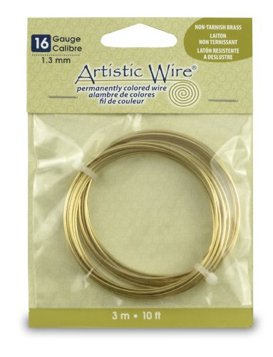 Artistic Wire 16-Gauge Non-Tarnish Brass Coil Wire, 10-Feet (Non Tarnish Brass)