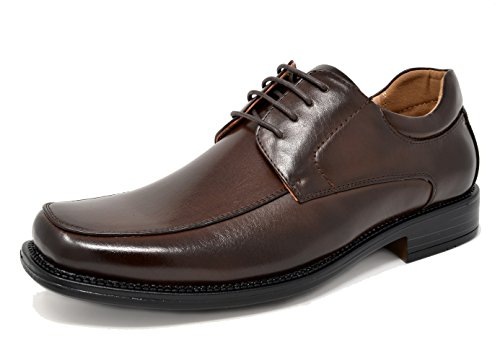 Bruno MARC GOLDMAN-01 Men's Classic Square Moc Toe Leather Lining Lace Up Dress Oxford Shoes DARK BROWN SIZE 11