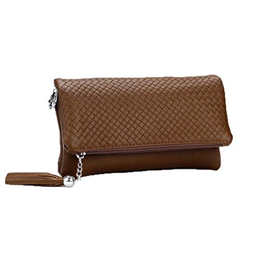 Donalworld - Bolso de mano de piel sintética para mujer, con borla, cremallera, compartimento triple café