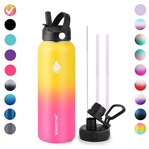 SENDESTAR Stainless Steel Water Bottle,2 or 3 Lids(18 oz, 24oz,32 oz,40 oz,64oz 87oz),Double Wall Vacuum Insulated Leak Proof, Wide Mouth Water bottle with Straw Lid,Spout Lid,Keep Liquids Hot or Cold