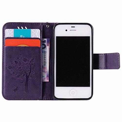 Yiizy Apple Iphone 4 4s Hülle, Baum-Muster Entwurf PU Ledertasche Klappe Beutel Tasche Leder Haut Schale Skin Schutzhülle Cover Case Stehen Kartenhalter Stil Bumper Schutz (Lila)