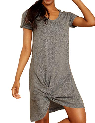 Blooming Jelly Women's Casual Short Sleeve T Shirt Dress V Neck Loose Plain Knot Summer Dress(Grey,Large)