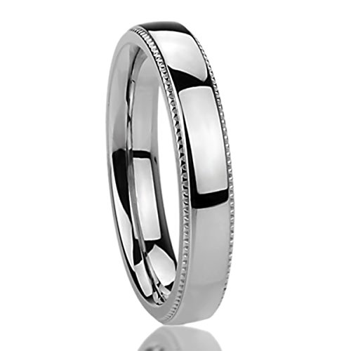 4MM Stainless Steel Womens Rings Milgrain Edges Domed Classy Comfort Fit Wedding Bands SZ: 11