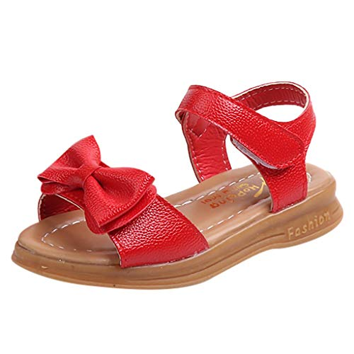 CCFAMILY Children Toddler Infant Kids Baby Girls Bowknot Princess Casual Shoes Sandals Red