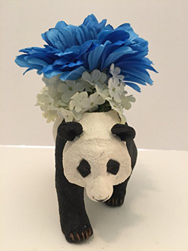 ANIMAL FUN - PANDA BEAR VASE - BLUE GERBER DAISIES AND WHITE WILD FLOWERS by Peters Partners Design