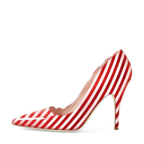 YDN Women Classic Pointy Toe Low Heel Pumps Slip on Black and White Stripe Shoes Red-white cheap best sale discount really enjoy cheap online QyWBQHzj