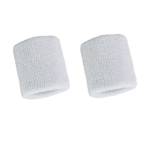 Kagogo 3 Inch Cotton Sports Wristband / Sweatband For Basketball Tennis And Other Sports, Price/Pair (White)
