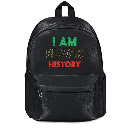 Black History Month I Am Black History Bag Purse Fashion Nylon Water Resistant School Backpack College Bookbag for Men Women and Kids