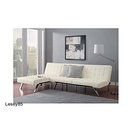 Amazon.com: Leather Futon Chaise Lounger Convertible Sleeper Couch ...
