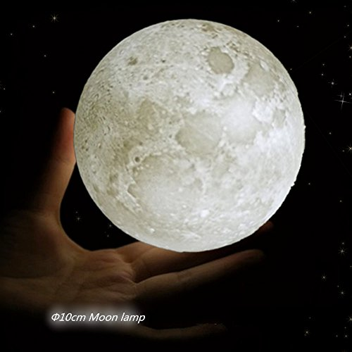 Night Light 3D Moon Lamp Touch Dimmable Warm/Cool Brightness, Cordless illuminations Table Lamp Realistic Lunar