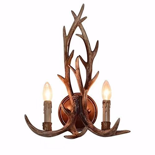 JHT Resin Antler Wall Sconce 2 Light (Antique)