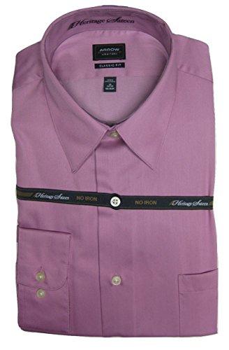 Arrow Men's Classic-Fit Solid Poplin No-Iron Point-Collar Dress Shirt 16.5 Pink Glaze