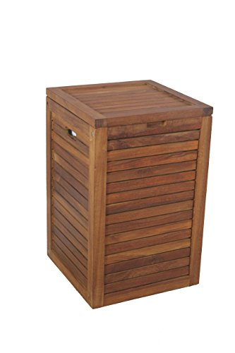 Medium Teak Laundry Hamper, or Indoor Outdoor Storage Bin by AquaTeak