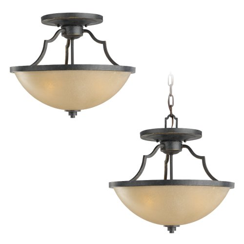Sea Gull Lighting 77520-845 Convertible Semi-Flush/Pendant with Creme Parchment Glass Shades, Flemish Bronze Finish