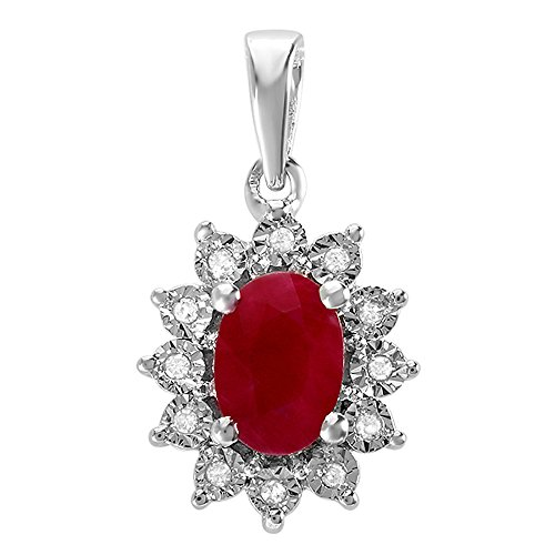 Dazzlingrock Collection Kate Middleton Diana Inspired 10K Oval Cut Ruby With Round Diamond Ladies Pendant, White Gold