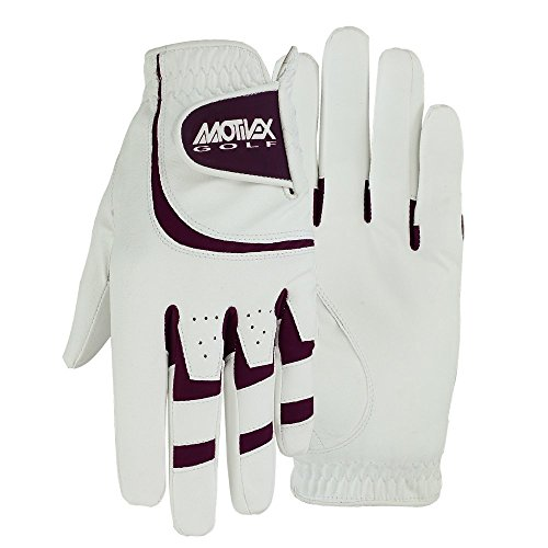 (MRX BOXING & FITNESS Women's Golf Glove Soft Cabretta Leather Regular Fit Women Golfer Gloves Left Hand (White/Burgundy-Large))