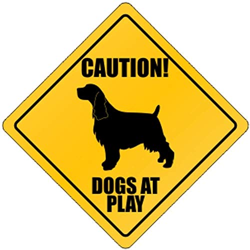 Fhdang Decor Dogs at Play English Springer Spaniel Dogs Metal Sign Crossing Sign Aluminium Signs,12x12 Inches