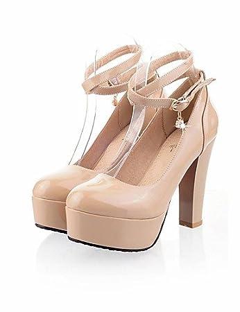 NJX/ hug Zapatos de mujer-Tacón Robusto-Punta Redonda-Tacones-Casual-Semicuero-Negro / Amarillo / Rojo , black-us5 / eu35 / uk3 / cn34 , black-us5 / eu35 / uk3 / cn34