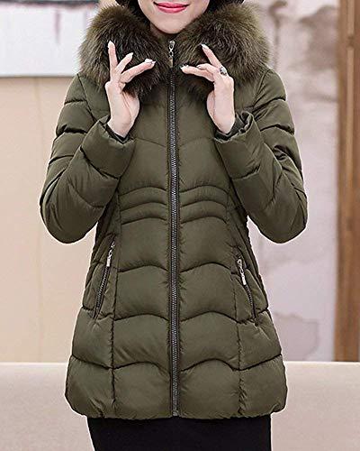 Dames Manteau Taille Avec Manteaux Fourrure Oudan Xl Verte Fausse Outwear coloré En Capuche Armée Chaud D'hiver gRdwqI