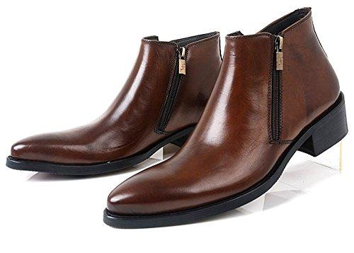 Santimon-mens Vera Pelle Breve Moda Canister Bilaterale Zipper Stivali Scarpe Da Lavoro Marrone