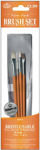 Royal Langnickel Sable Brush Short (Royal & Langnickel Royal Zip N' Close Bristle and Sable Flat and Round 4-Piece Brush Set)
