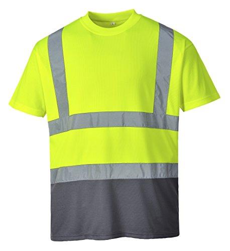 Portwest Workwear Mens Hi-Vis 2-Tone T-Shirt YeGrey Small