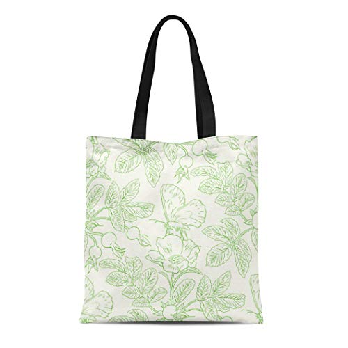 Semtomn Cotton Canvas Tote Bag Pink Toile Wild Roses Pattern Drawing Flower Sketch Antique Reusable Shoulder Grocery Shopping Bags Handbag Printed