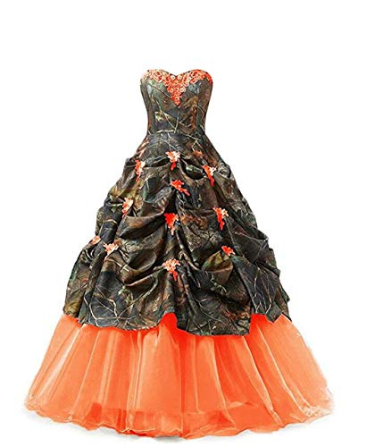 Chupeng Women's Appliques Camouflage Satin Wedding Bridal Dresses Prom Quinceanera Ball Gowns Plus Size Orange]()