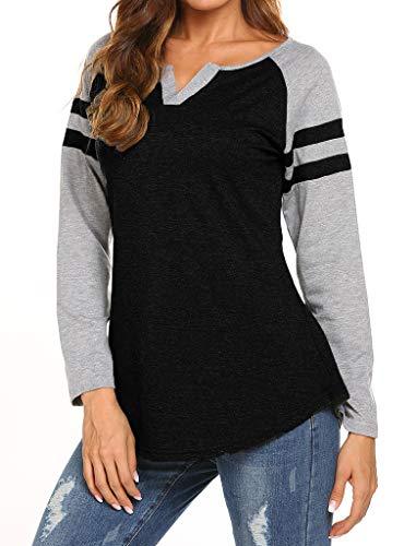 Locryz Women's Summer V Neck Raglan Short Sleeve Shirts Casual Blouses Baseball Tshirts Top (XXL, ()