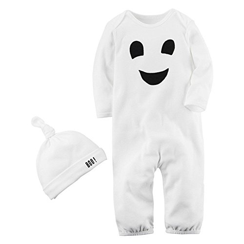 2PCS Halloween Baby Boys Girls Cartoon Print Romper Jumpsuit+Hat Set Outfit]()